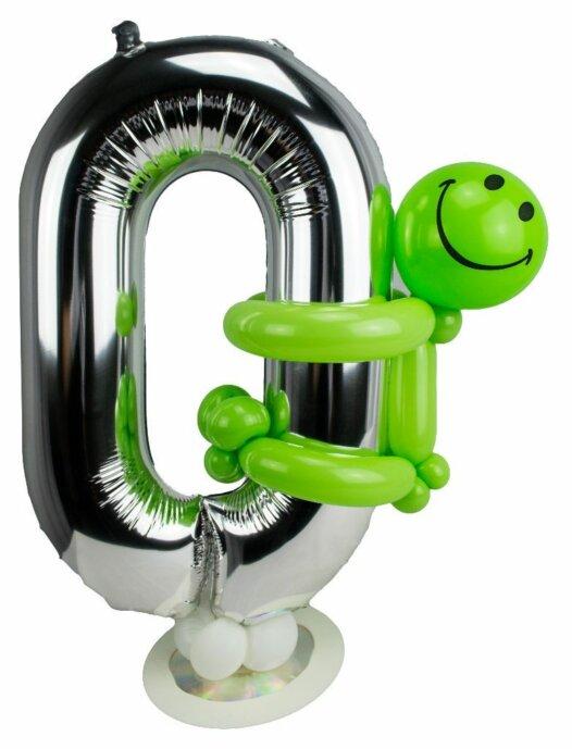 Zahl 0 zum Geburtstag Luftballon mit grünem Männchen