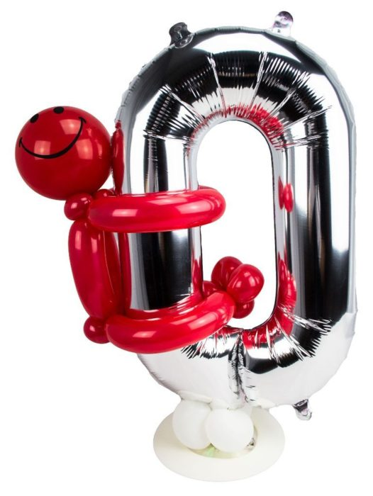 Zahl 0 zum Geburtstag Luftballon mit rotem Männchen