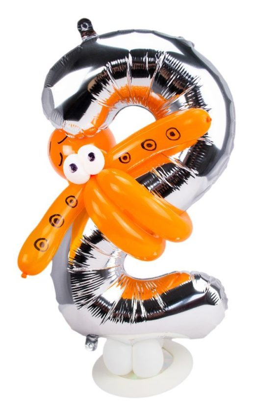Zahl 2 zum Geburtstag Luftballon mit orangener Luftballon-Krake