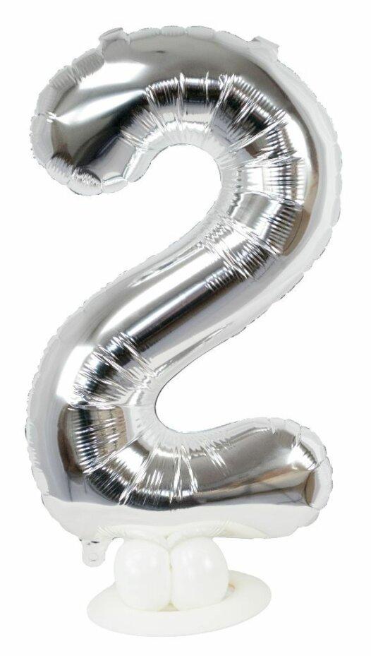 Zahl 2 zum Geburtstag Luftballon mit Standfuß