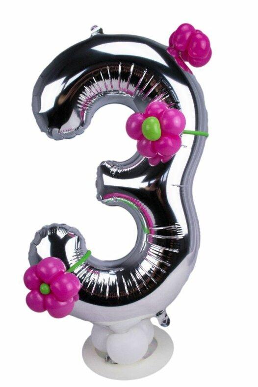 Zahl 3 zum Geburtstag Luftballon mit pinken Blumen