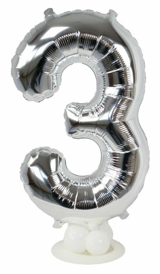 Zahl 3 zum Geburtstag Luftballon mit Standfuß