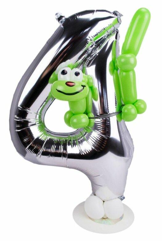 Zahl 4 zum Geburtstag Luftballon mit grüner Raupe