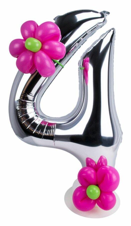 Zahl 4 zum Geburtstag Luftballon mit pinken Blumen