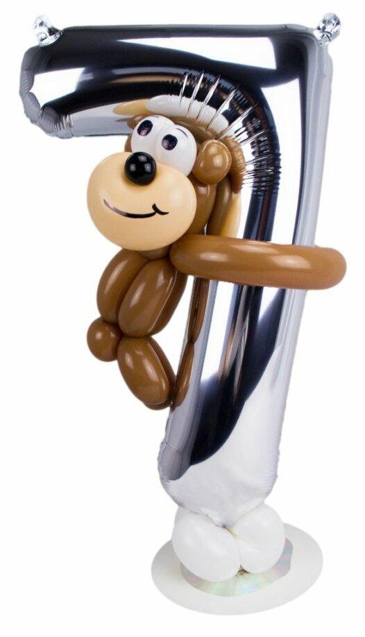 Zahl 7 zum Geburtstag Luftballon mit braunem Bärchen