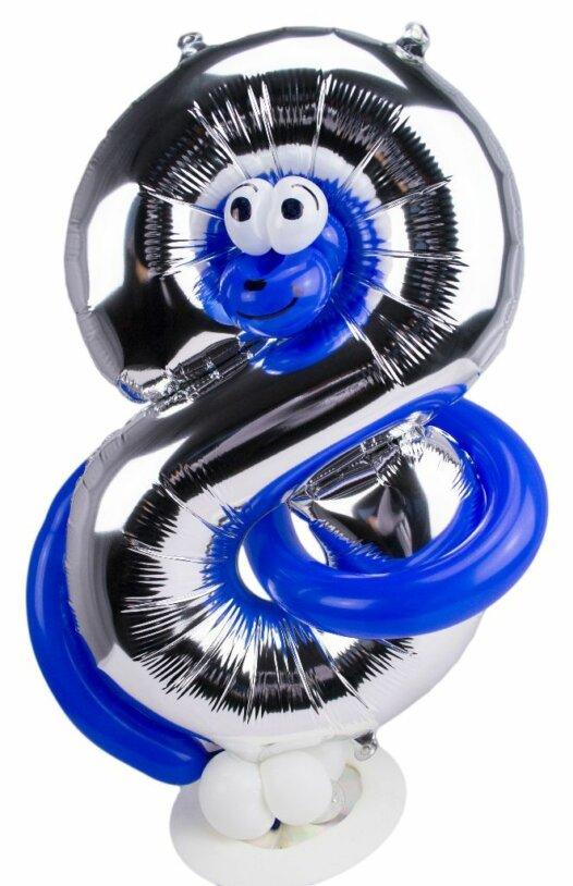 Zahl 8 zum Geburtstag Luftballon mit blauer Schlange