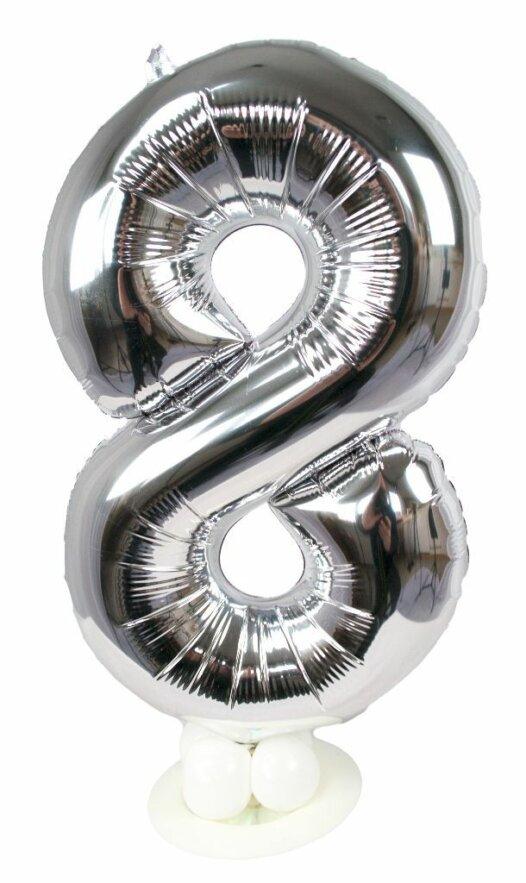 Zahl 8 zum Geburtstag Luftballon mit Standfuß
