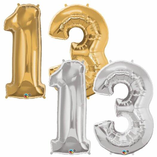 Riesen Zahl Zahlenballon 13 Jahre