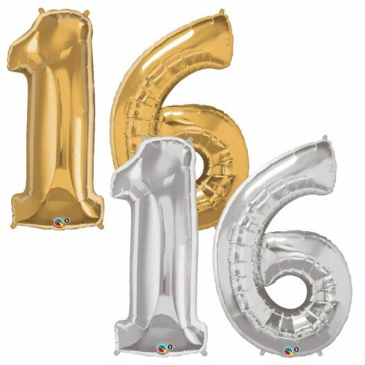 Riesen Zahl Zahlenballon 16 Jahre