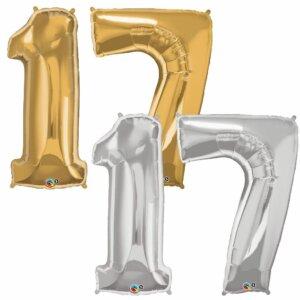 Riesen Zahl Zahlenballon 17 Jahre