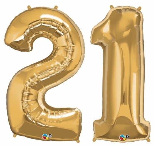 Riesen Zahl Zahlenballon 21 Jahre gold