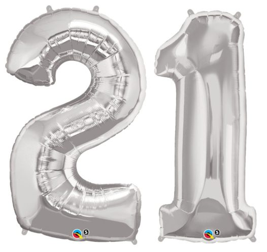 Riesen Zahl Zahlenballon 21 Jahre silber