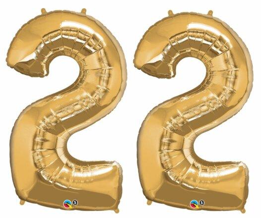 Riesen Zahl Zahlenballon 22 Jahre gold