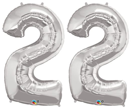 Riesen Zahl Zahlenballon 22 Jahre silber