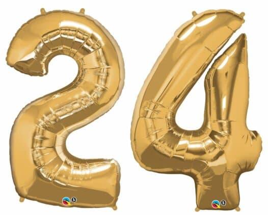 Riesen Zahl Zahlenballon 24 Jahre gold