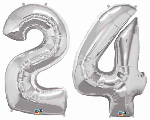 Riesen Zahl Zahlenballon 24 Jahre silber