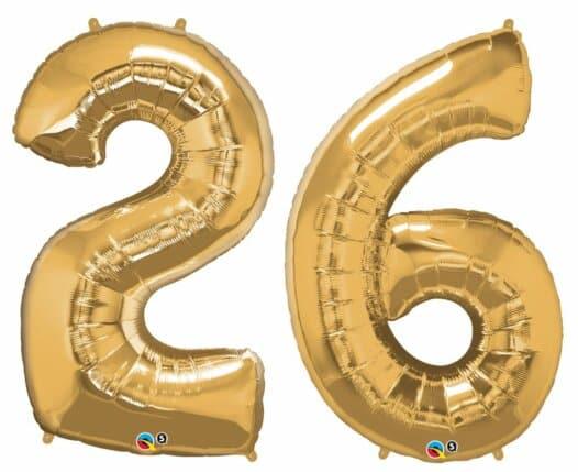 Riesen Zahl Zahlenballon 26 Jahre gold