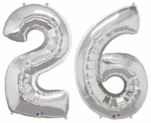 Riesen Zahl Zahlenballon 26 Jahre silber