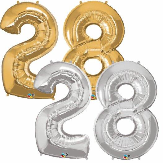 Riesen Zahl Zahlenballon 28 Jahre