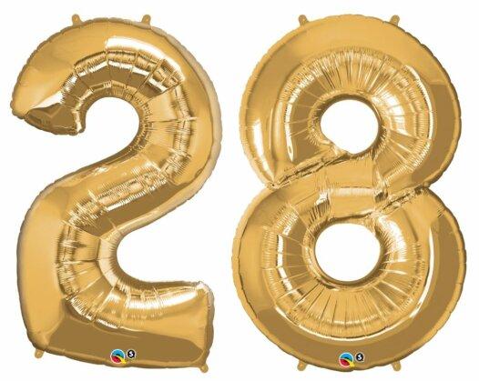 Riesen Zahl Zahlenballon 28 Jahre gold