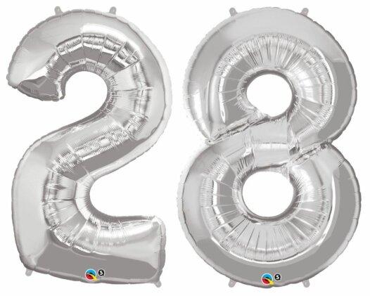 Riesen Zahl Zahlenballon 28 Jahre silber