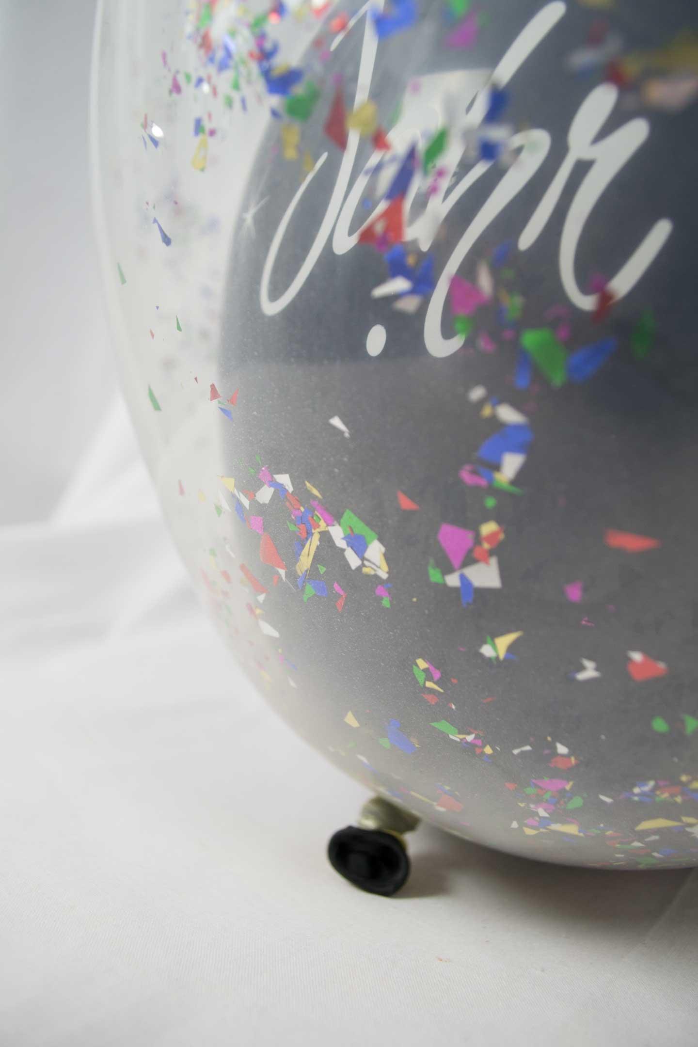 Konfetti-Luftballon 40 cm Frohes neues Jahr
