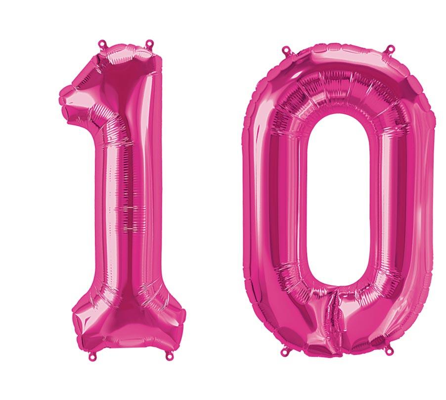 luftballon zahl 10 pink xxl gratis versand mit helium. Black Bedroom Furniture Sets. Home Design Ideas