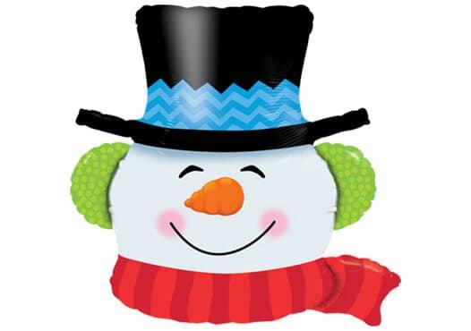 Grinsender Schneemann mit Hut (90 cm)