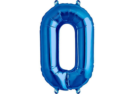 Luftballon Zahl 0 Zahlenballon blau (86 cm)
