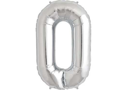 Luftballon Zahl 0 Zahlenballon silber (86 cm)