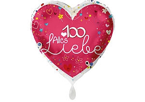 Herz Luftballon Alles Liebe Zahl 100 rot (38 cm)