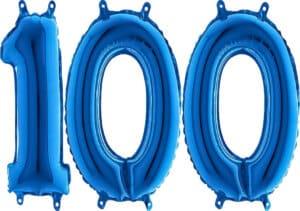 Luftballon Zahl 100 Zahlenballon blau (66 cm)