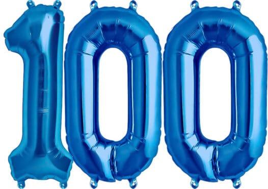 Luftballon Zahl 100 Zahlenballon blau (86 cm)