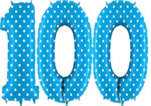 Luftballon Zahl 100 Zahlenballon blau mit weißen Punkten (100 cm)