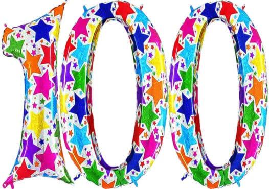 Luftballon Zahl 100 Zahlenballon silber mit bunten Sternen (100 cm)