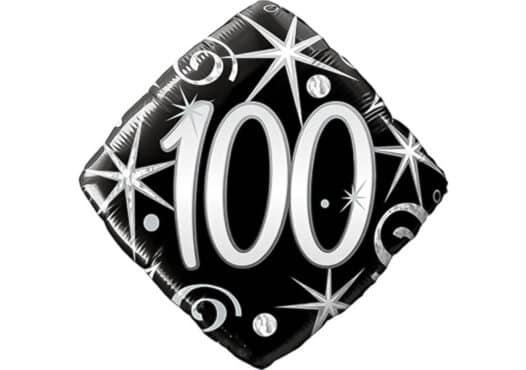Eleganter Diamant-Luftballon mit Zahl 100 schwarz (38 cm)