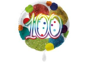 Glitzer-Luftballon mit der Zahl 100 in bunt (38 cm)