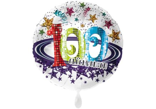 Runder Luftballon mit Glitzersternen und Zahl 100 in weiß (38 cm)