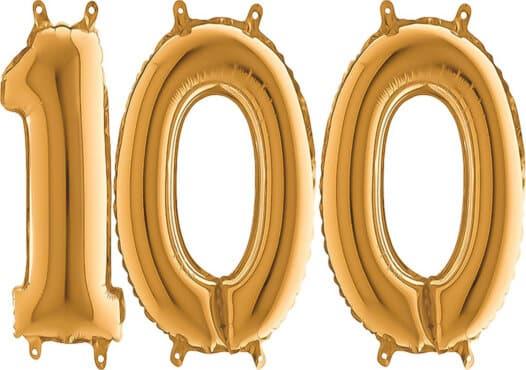 Luftballon Zahl 100 Zahlenballon gold (66 cm)