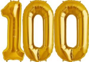 Luftballon Zahl 100 Zahlenballon gold (86 cm)