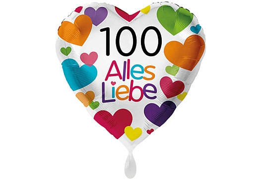 Herzluftballon mit kleinen Herzen Alles Liebe Zahl 100 weiß (38 cm)