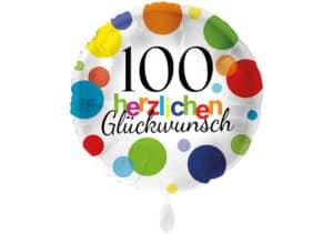Runder Luftballon mit bunten Punkten Herzlichen Glückwunsch Zahl 100 weiß (38 cm)