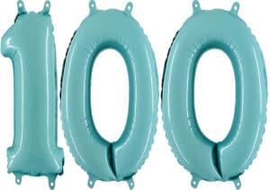 Luftballon Zahl 100 Zahlenballon pastell-blau (100 cm)