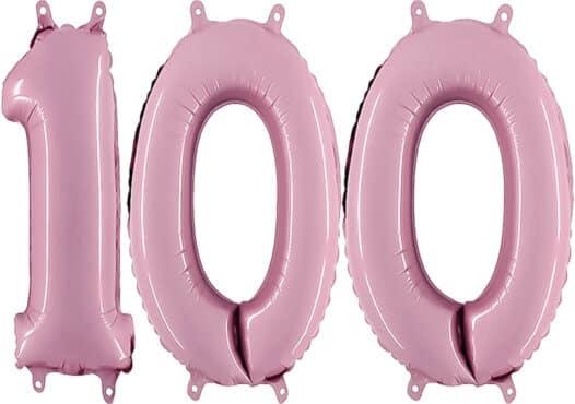 Luftballon Zahl 100 Zahlenballon pastell-pink (100 cm)