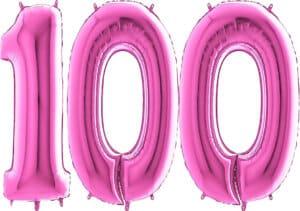 Luftballon Zahl 100 Zahlenballon pink (66 cm)