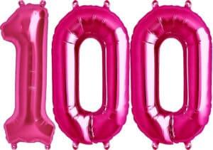 Luftballon Zahl 100 Zahlenballon pink (86 cm)
