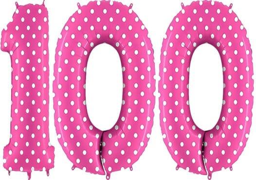 Luftballon Zahl 100 Zahlenballon pink mit weißen Punkten (100 cm)
