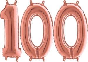 Luftballon Zahl 100 Zahlenballon rosegold (66 cm)