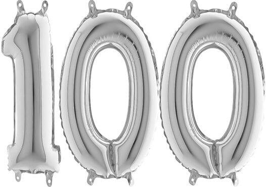 Luftballon Zahl 100 Zahlenballon silber (66 cm)
