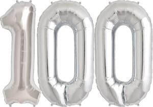 Luftballon Zahl 100 Zahlenballon silber (86 cm)